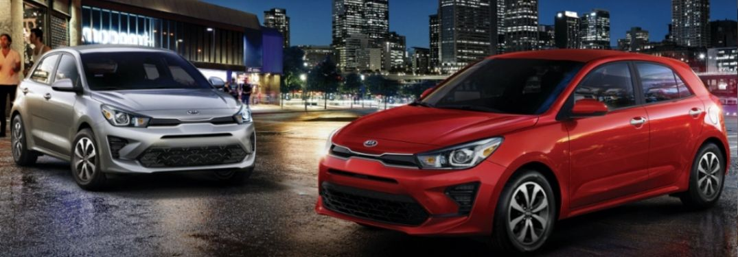 2021 Kia Rios parked outside together