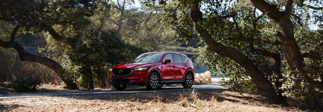 front and side view of red 2018 mazda cx-5 on road under trees
