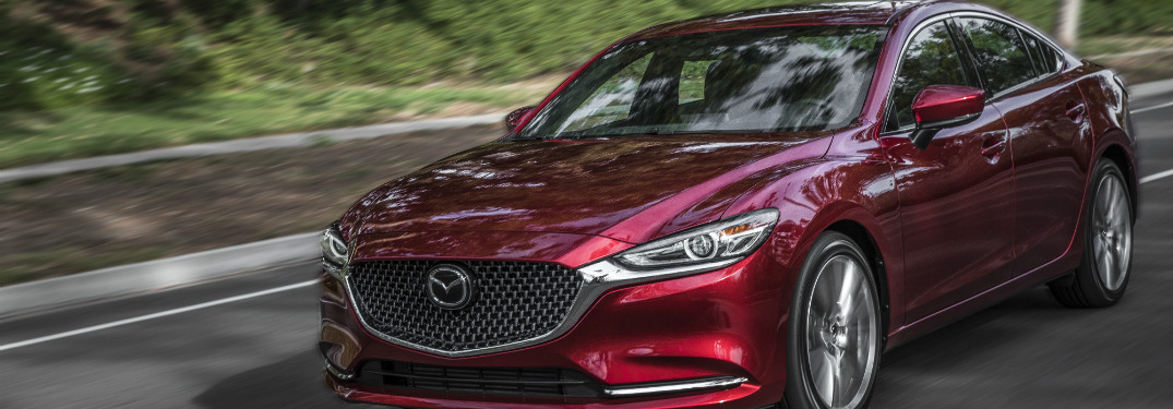 front and side view of red 2018 mazda6
