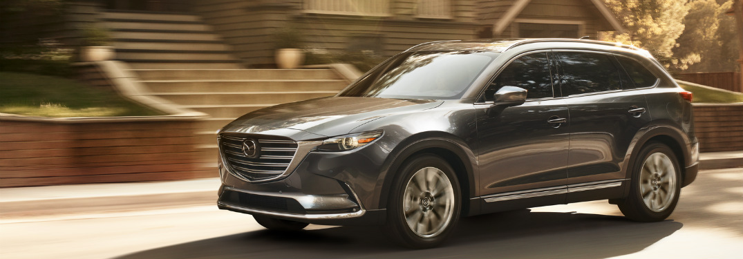 front and side view gray 2019 mazda cx-9