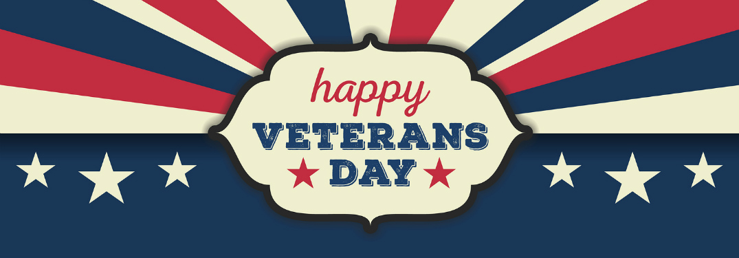 happy veterans day graphic with rid white and blue stars and stripes