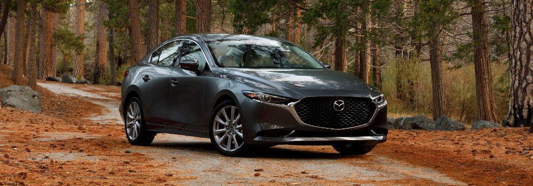 front and side view of gray 2019 mazda3 sedan