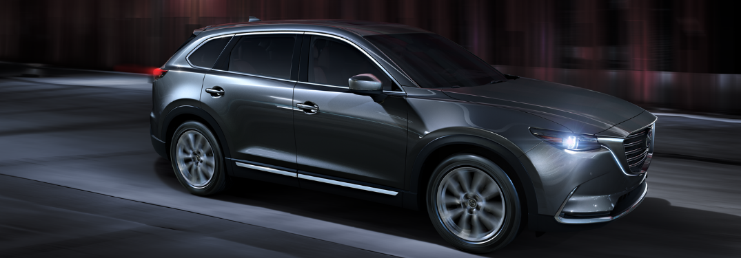 front and side view of gray 2019 mazda cx-9