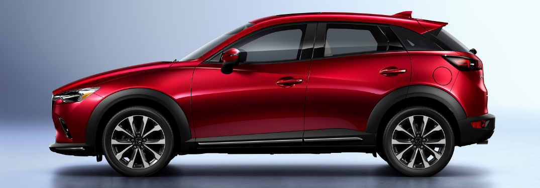 side view of red 2019 mazda cx-3