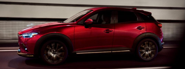 Full profile view of red 2019 Mazda CX-3