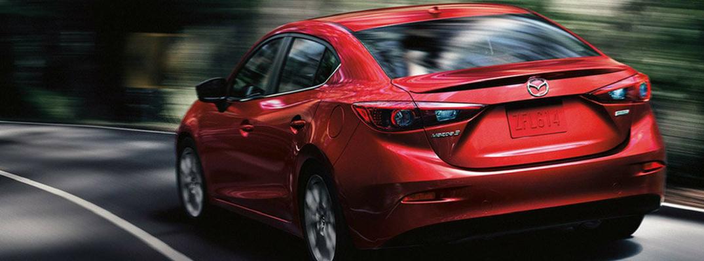 2018 Mazda3 4-Door Sedan Rear View of Red Exterior
