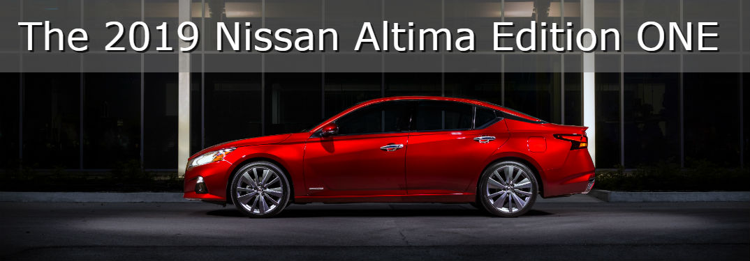 Reserve a 2019 Nissan Altima Edition ONE Starting June 15th with image of a 2019 Altima Edition ONE profile view with a dark building behind it