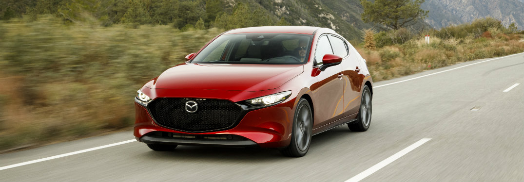 front view of red mazda3