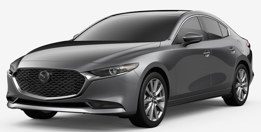 gray mazda3 sedan on white