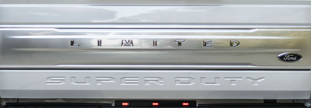 close up of the rear logo on a 2018 Ford F-Series Super Duty Limited 4x4