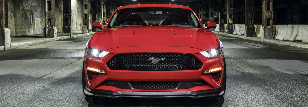 close up of the front of a red 2018 Ford Mustang GT