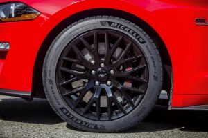 close up of 2018 Ford Mustang GT new Michelin Pilot Sport 4S high-performance summer tires