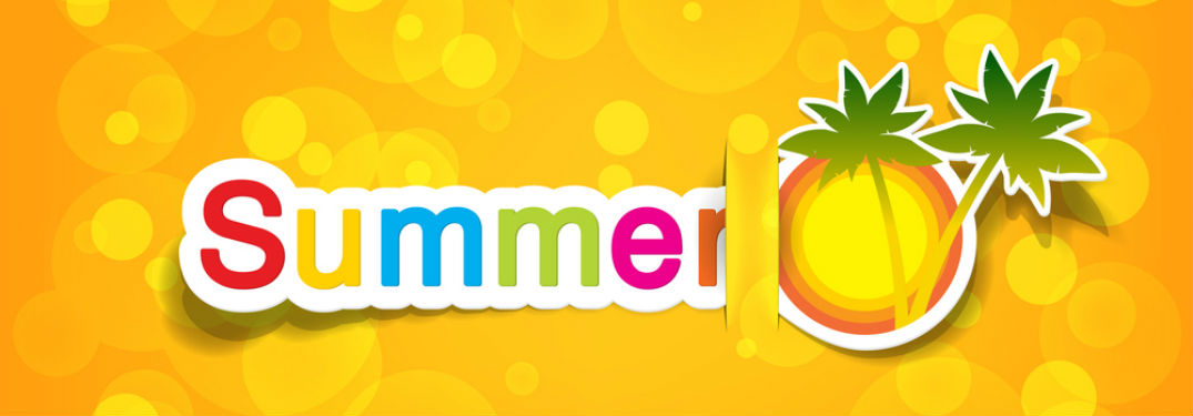 Summer written in various bring colors next to a sun and palm trees against a bright orange background