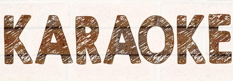 karaoke written in brown against a tan background