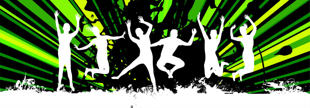 white shadows of people dancing against a black and neon green background