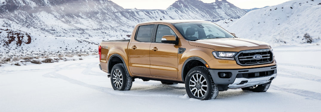 side view of a gold 2019 Ford Ranger