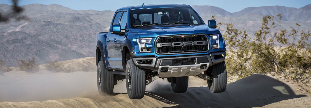 front view of a blue 2019 Ford F-150 Raptor