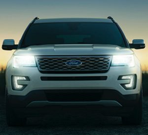 front view of a white 2019 Ford Explorer