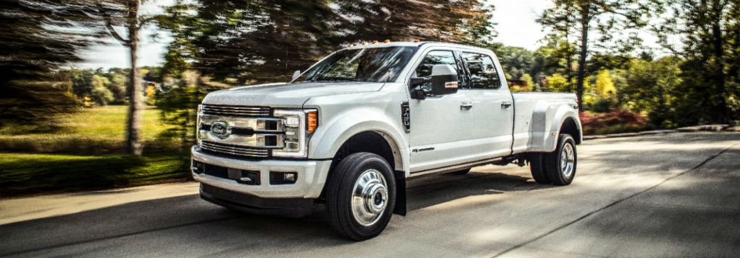 side view of a white 2018 Ford Super Duty