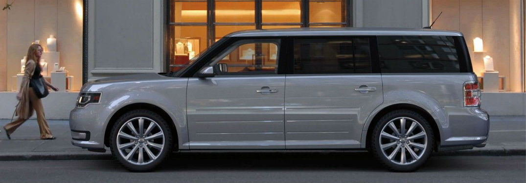 side view of a white 2019 Ford Flex