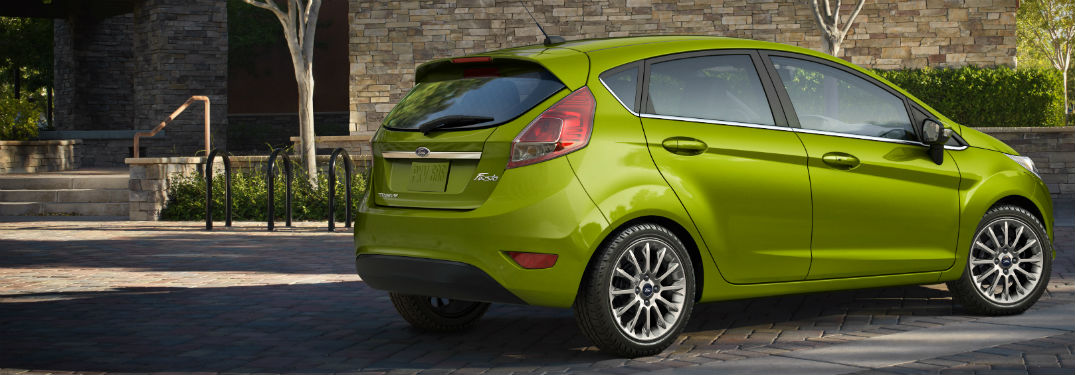 rear view of a green 2019 Ford Fiesta Hatchback