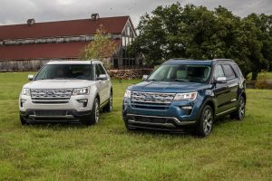 two 2019 Ford Explorer models parked in a field