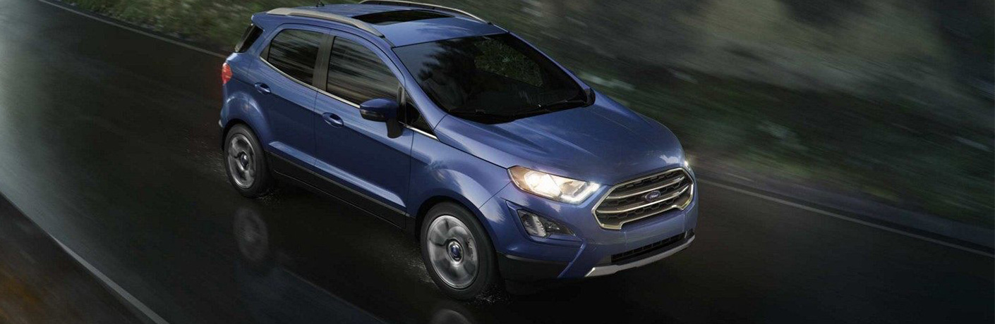 2019 Ford EcoSport driving on road at night