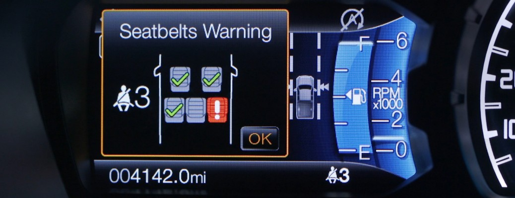 2019 Ford Ranger Belt Monitor system unbuckle warning screen