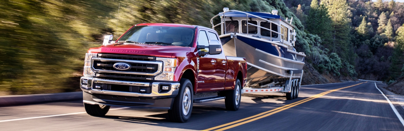 2020 Ford Super Duty towing a boat