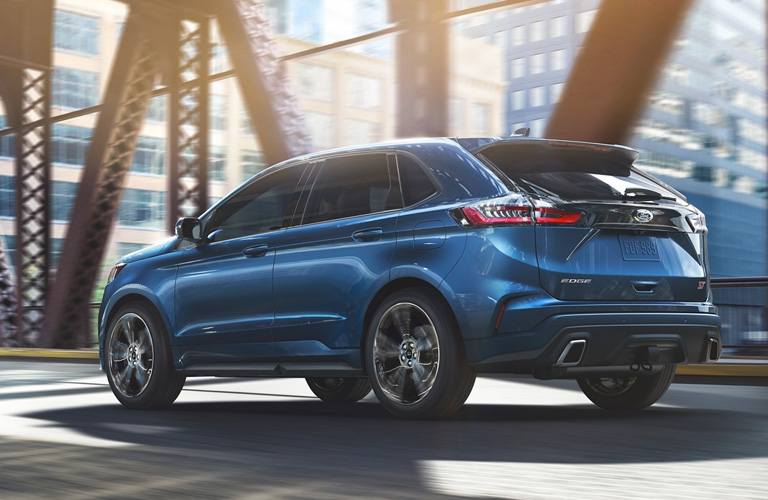 2020 Ford Edge driving on city bridge