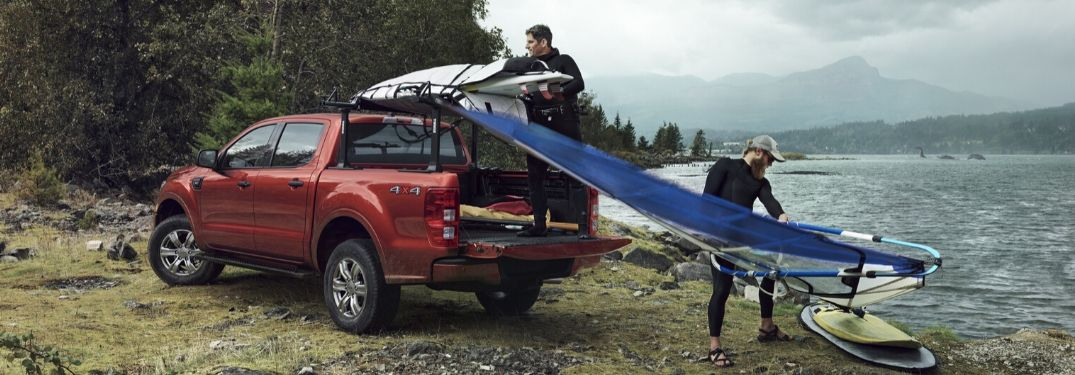 2020 Ford Ranger with recreational water gear in cargo area