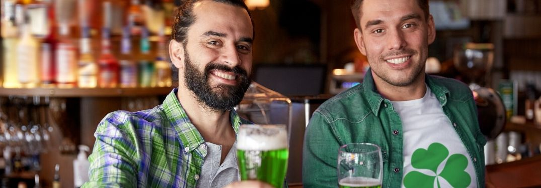 men celebrating St. Patrick's day at pub