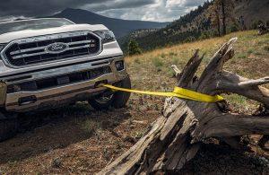 2020 Ford Ranger pulling stump