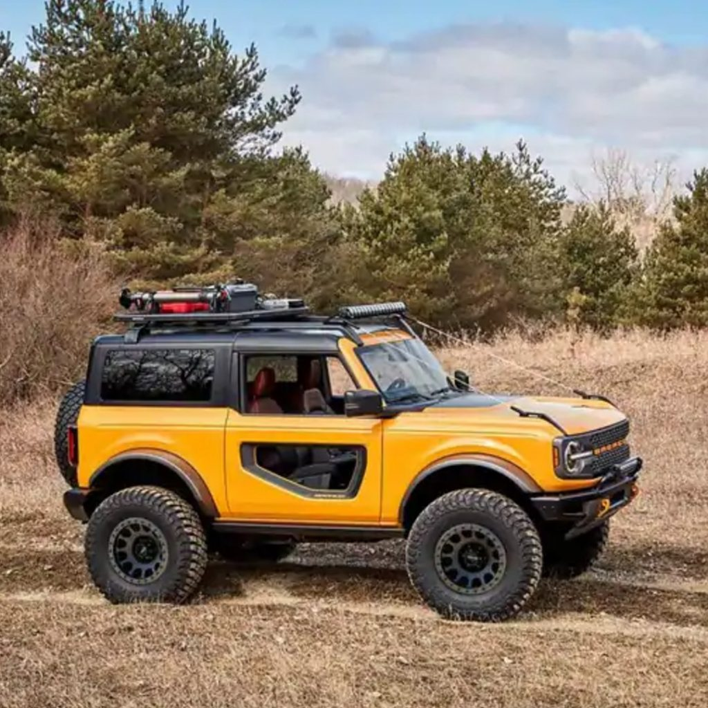 2021 Ford Bronco two-door in field viewed from side