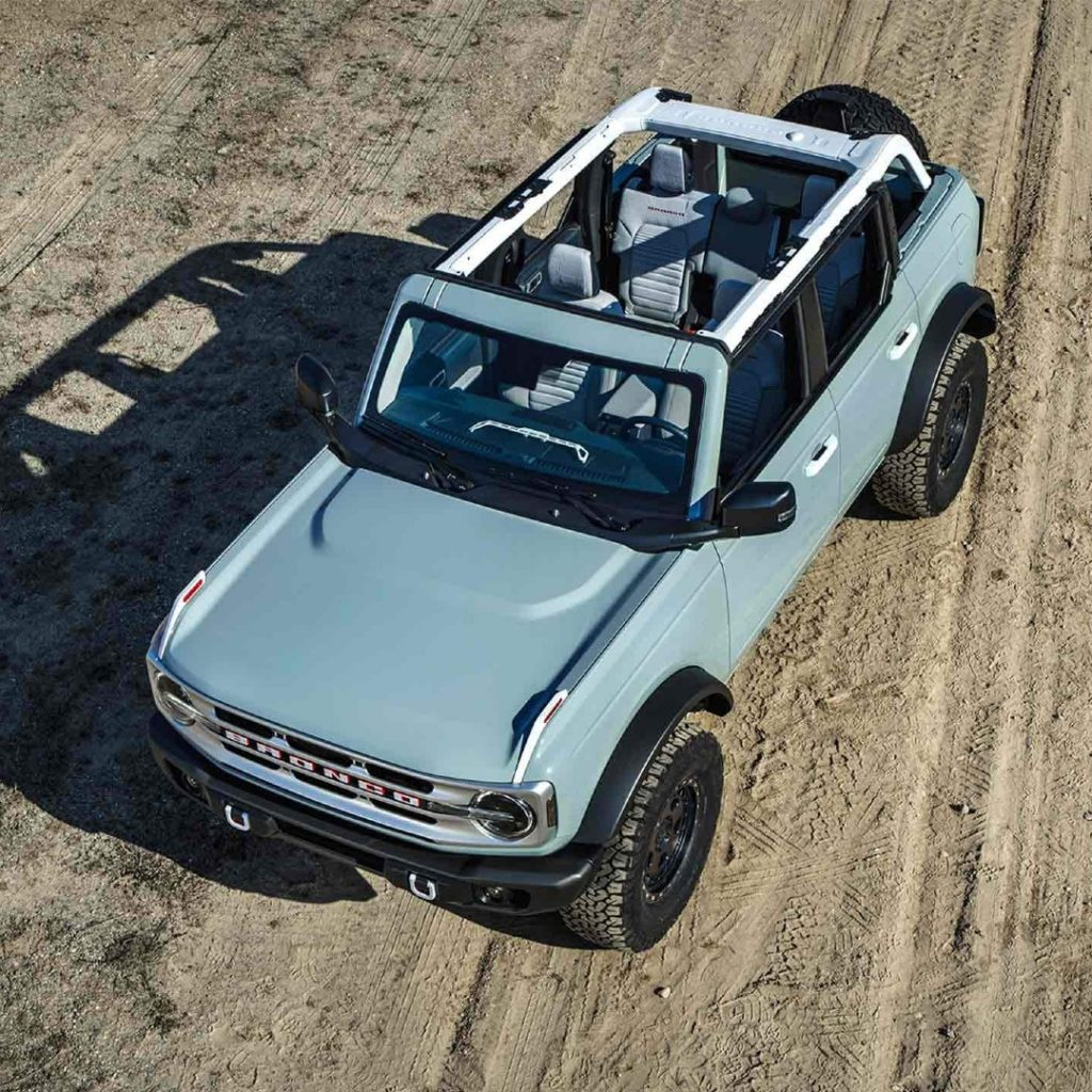 2021 Ford Bronco four-door in desert viewed from above