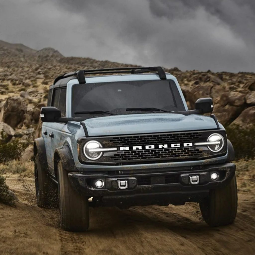 2021 Ford Bronco four-door in desert viewed from front