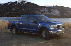 2021 Ford F-150 in color Velocity Blue Metallic