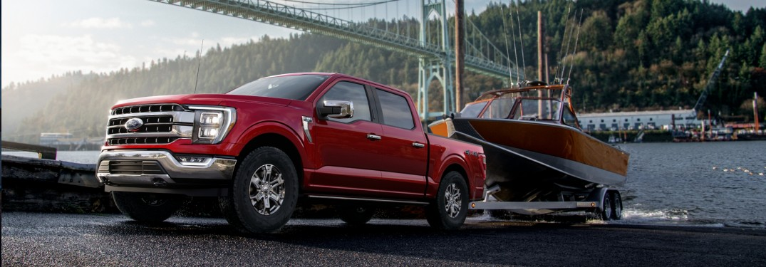 2021 Ford F-150 towing a boat out of water