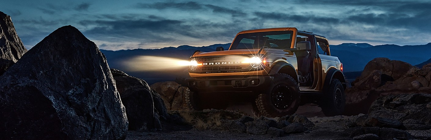 2021 Ford Bronco in desert at nightfall