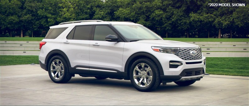 2021 Ford Explorer in Oxford White exterior color (2020 MODEL SHOWN)