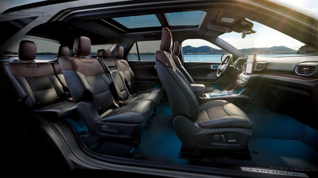 2021 Ford Explorer Platinum interior with Ebony perforated leather seats