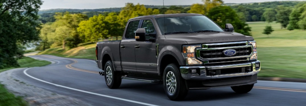 2021 Ford Super Duty in Lithium Gray on winding country road