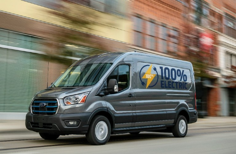 All-Electric 2022 Ford E-Transit on city street