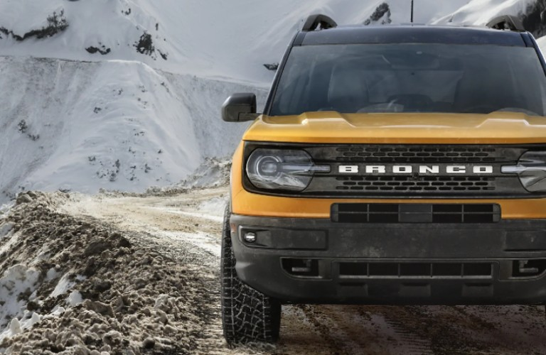 2021 Ford Bronco Sport on snowy mountain trail