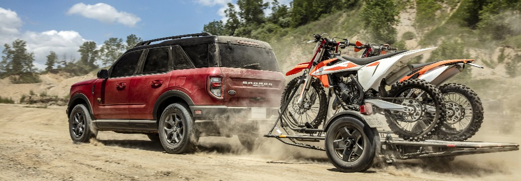 2021 Ford Bronco Sport towing a pair of dirt bikes