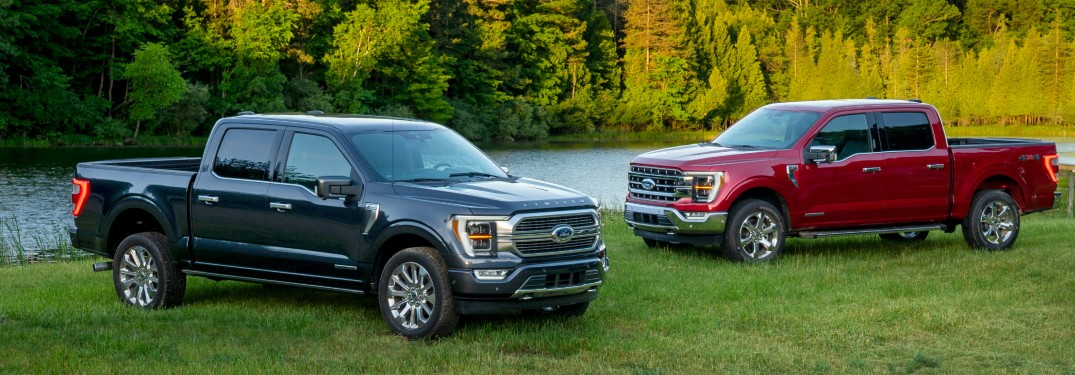 2021 Ford F-150 trucks by river bank