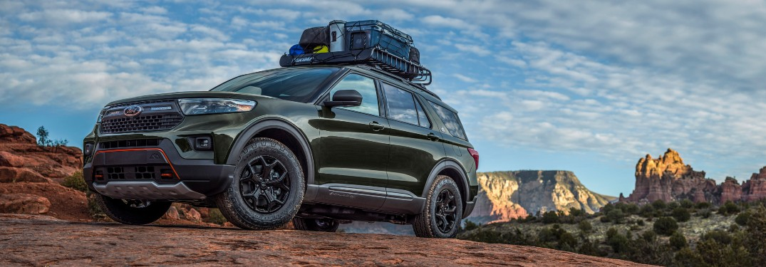 2021 Ford Explorer Timberline on rocky off-road terrain