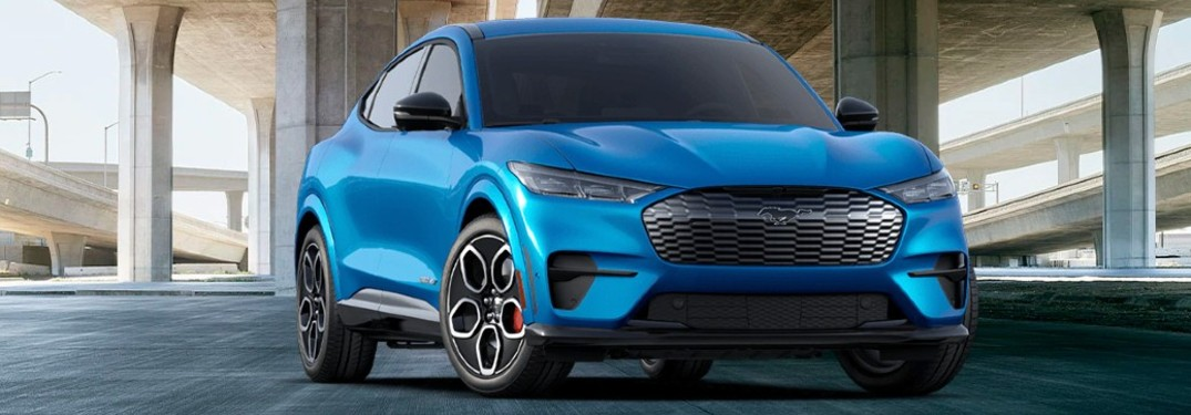 2021 Ford Mustang Mach-E front view in a city