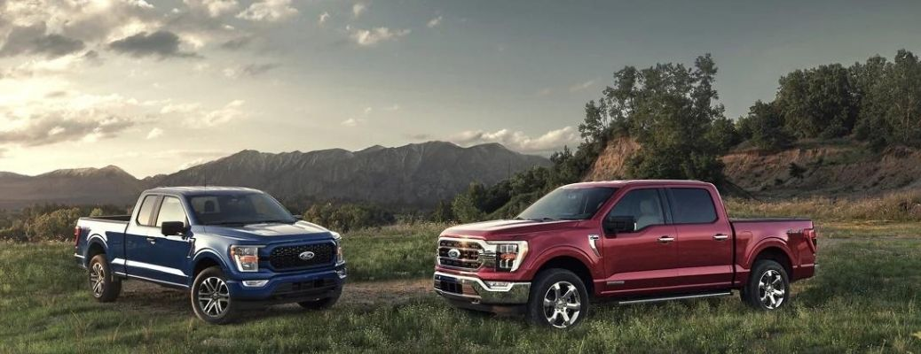 Two 2021 Ford F-150 pickup trucks parked in a field.