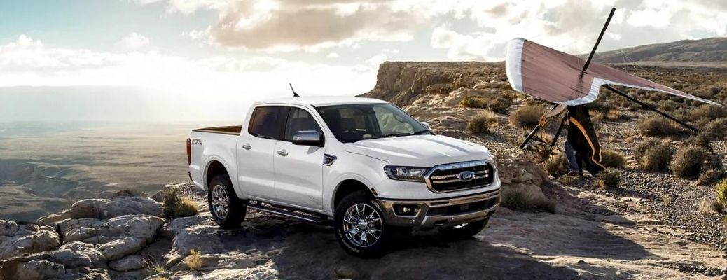 White 2021 Ford Ranger parked on a mountain road.